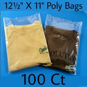 12½ X 11 Poly Bags Clear Open Top 100 Count Ship